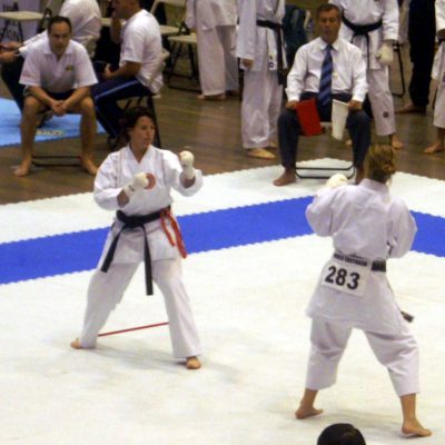 Victorian karate instructors- Shelley Hol Competing