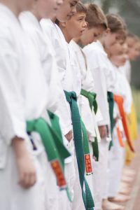 Starting karate training Boys lined up
