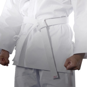 Starting karate training white belt person