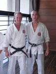 Sensei Howard with former all-styles world kumite champion Alistair Mitchell at the 2007 WSKF training seminar Tokyo
