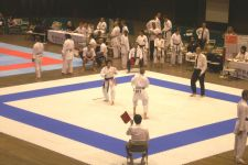 Sensei Shelley Hol competing in kumite at the 2007 WSKF World Championships in Tokyo