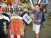 Sensei Stephen Hol inspecting the groovy Japanese T-shirts at a shopping mall in 2007