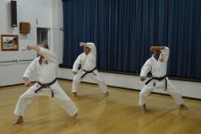 Senseis Howard, Osmar & Mark practising Sochin Kata