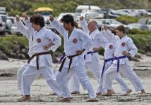 Karate training on the beach at Portland Victoria 2