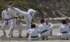 Karate training on the beach at Portland Victoria 4