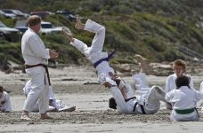 Karate training on the beach at Portland Victoria 5