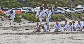 Karate training on the beach at Portland Victoria 6
