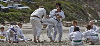 Karate training on the beach at Portland Victoria 7