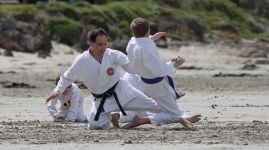 Karate training on the beach at Portland Victoria 8