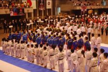 Contestants lining up at the commencement of the 2017 WSKF World Championships