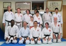 Some of the Australian contingent training at the JKA Kyobashi dojo in Osaka after the WSKF World Championships 2017